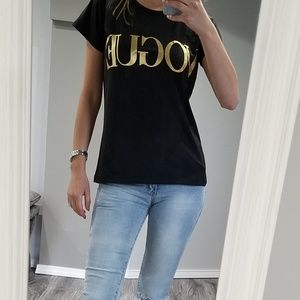 Vogue short sleeve black tee with gold letters